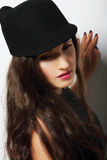 Vintage. Romantic Pensive Woman in Black Hat Royalty Free Stock Photography