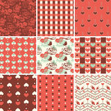 Vintage Romantic Seamless Pattern Set Royalty Free Stock Image