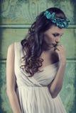 Vintage romantic spring girl royalty free stock photos
