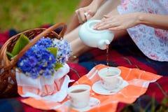 Vintage romantic tea party. Woman pours tea outdoors. Royalty Free Stock Photos