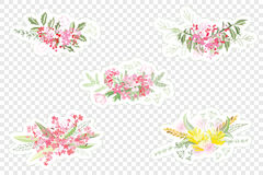 Vintage romantic vector of fashionable bouquets of flowers. Stock Photo