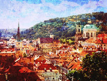 Vintage Roof tops of the old city of Prague Stock Images