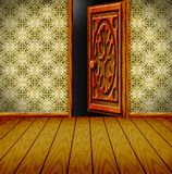 Vintage room. Room with ajar door and light from the dark Royalty Free Stock Images