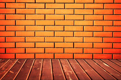 Vintage room. With brick wall and wooden floor background Stock Photos