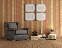 Vintage room with brown classic armchair Royalty Free Stock Photo