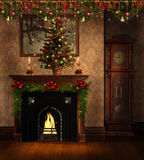 Vintage room with Christmas decorations. Vintage room with a fireplace and Christmas decorations Royalty Free Stock Photo