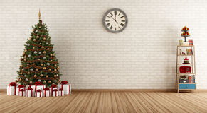 Vintage room with christmas tree Stock Photography