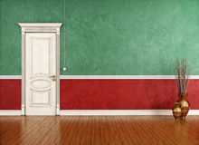 Vintage room with classic closed door Royalty Free Stock Photo