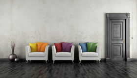 Vintage room with colorful armchair Royalty Free Stock Photo