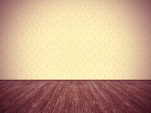Vintage room design: floral wallpaper and weathered wooden floor Stock Image