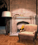 Vintage room with a fireplace. Vintage room with an armchair and a fireplace Stock Images