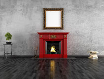 Vintage room with fireplace Stock Images