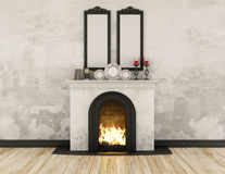Vintage room with fireplace Royalty Free Stock Image