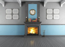 Vintage room with fireplace. Empty vintage room with stone fireplace - rendering Stock Photos