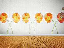 Vintage room with floral wallpaper. Interior background stock photo
