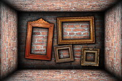 Vintage room interior backdrop with ancient frames Stock Photography