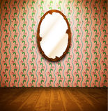 Vintage room with mirror. And floral wallpaper Stock Photos