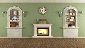 Vintage room with niche and fireplace Royalty Free Stock Photography