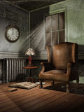 Vintage room at night. Old and dusty vintage room at night vector illustration