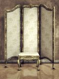 Vintage screen and stool Royalty Free Stock Image