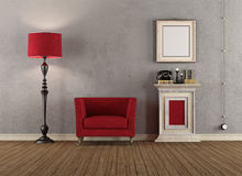 Vintage room with red armchairs Royalty Free Stock Photos