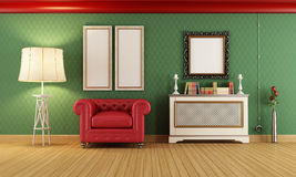 Vintage room with red classic armchair Royalty Free Stock Image