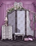 Vintage room with a screen. Vintage room with a dressing screen and pink curtains