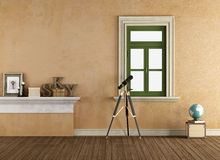 Vintage room with telescope Royalty Free Stock Photos