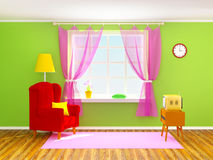 Vintage room with tv Royalty Free Stock Image