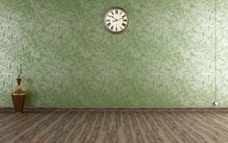 Vintage room with Venetian plaster. Wall in green - rendering vector illustration