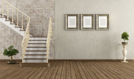 Vintage room with vintage staircase Stock Photos