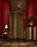 Vintage room with a wardrobe royalty free illustration