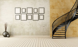 Vintage Room With Circular Staircase Royalty Free Stock Images