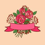 Vintage rose bouquet with ribbon Stock Images