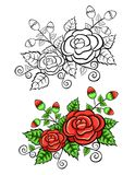 Vintage rose design isolated on a white background. Vintage red rose design isolated on a white background with a black and white version Stock Photo