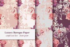 Vintage rose flowers and baroque ornament pattern set Vector. Grunge old paper textures background. Vintage rose flowers and baroque ornament pattern set Vector Stock Photography