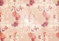 Vintage rose flowers and baroque ornaments pattern Vector. Grunge old paper texture background. Vintage rose flowers and baroque ornament pattern Vector. Grunge Royalty Free Stock Photos