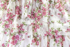 Vintage rose and lace romantic fabric, three layers background d Stock Photos