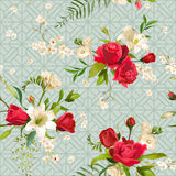 Vintage Rose and Lily Flowers Background. Spring and Summer Seamless Pattern royalty free illustration