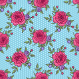Vintage rose pattern. Seamless floral pattern rose on blue background with polka dots, pink rose background, flower pattern, vector illustration by card, mothers Stock Photography