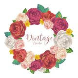 Vintage rose and peonies flowers vector round frame on white background Royalty Free Stock Images