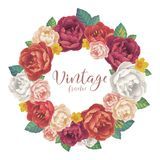 Vintage rose and peonies flowers vector round frame on white background. Vintage rose and peonies flowers vector round frame isolated on white background Stock Photo