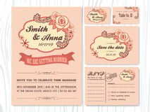Vintage rose tone wedding invitation sets. Invitation card, Save the date, RSVP, Guest card, Table number | Rose and abstract leaves ornament Stock Photography