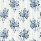 Vintage rose wallpaper pattern. Background in blue Royalty Free Stock Image