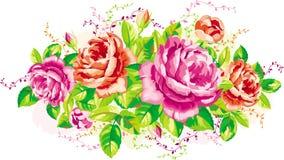 Vintage roses. Vintage arrangement of pink and red roses