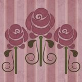 Vintage roses in art nouveau style on a faded striped background vector illustration