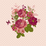 Vintage Roses Background with Butterflies Royalty Free Stock Photo