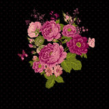 Vintage Roses Background with Butterflies Royalty Free Stock Images