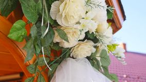 Vintage roses bouquet arrange for wedding decoration.  stock video