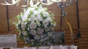 Vintage roses bouquet arrange for wedding decoration.  stock footage